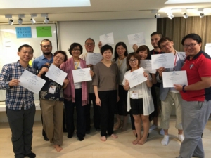 Dorothy Tsui, Principal with Hong Kong Center for Positive Change and Certificate holders.